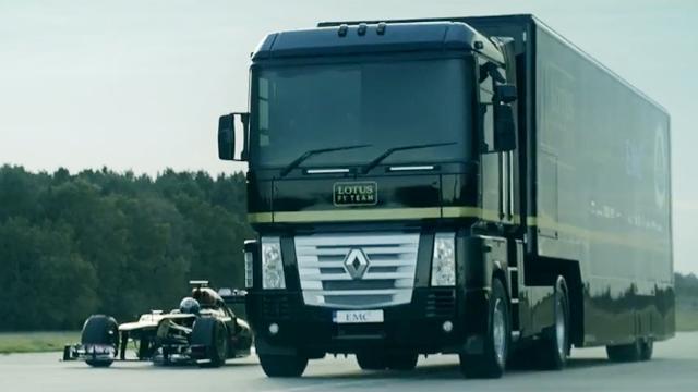 세계 기록 가진 트럭 점프!