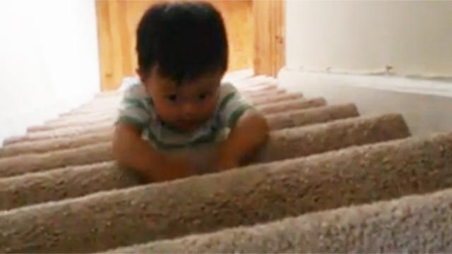 계단 내려가는 법을 터득한 아기